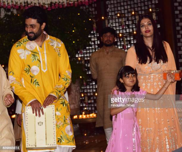 Bollywood actors Aishwarya and Abhishek Bachchan with daughter Aaradhya during the Ganesh Puja hosted by Mukesh Ambani Chairman of Reliance...