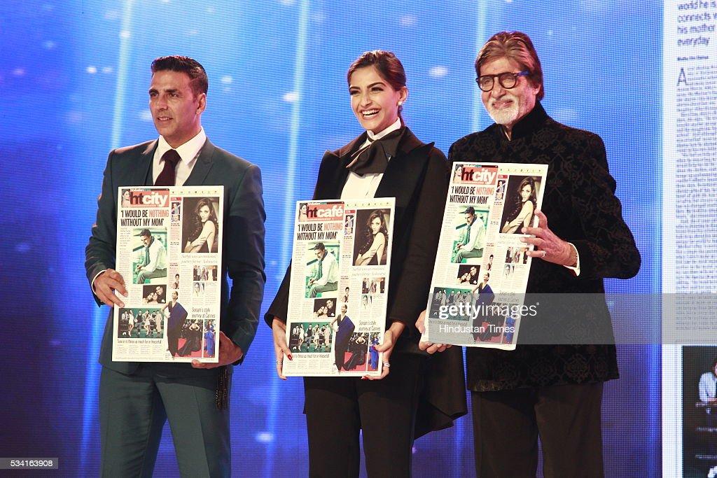 Bollywood actors Akhshay Kumar, Sonam Kapoor and Amitabh Bachchan accept awards at Hindustan Times Most Stylish Awards 2016 at hotel JW Marriot, Aerocity on May 24, 2016 in New Delhi, India.