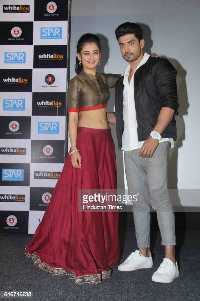 Bollywood actors Akshara Haasan and Gurmeet Choudhary during a trailer launch of movie 'Laali Ki Shaadi Mein Laddoo Deewana' at Cinepolis Andheri on...