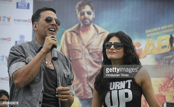 Bollywood actors Akshay Kumar and actress Shruti Hassan during the promotional event of their upcoming movie Gabbar is Back in SGT University on...