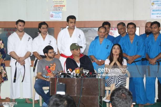 Bollywood actors Akshay Kumar and Bhumi Pednekar at the Graduation of Women Self Defense at Andheri Sports Complex Andheri on August 6 2017 in Mumbai...