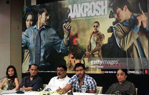 Bollywood actors Akshaye Khanna Ajay Devgan Amita Pathak and director Priyadarshan along with slain Nitish Katara's mother Neelam Katara during a...