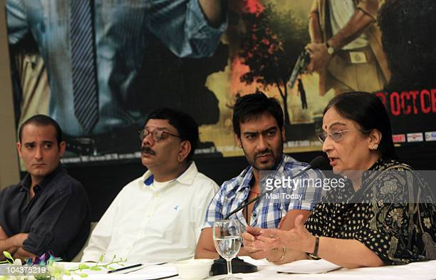 Bollywood actors Akshaye Khanna Ajay Devgan and director Priyadarshan along with slain Nitish Katara's mother Neelam Katara during a promotional...