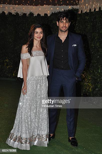 Bollywood actors Alia Bhatt and Sidharth Malhotra during wedding reception of Trishya Screwvala daughter of media tycoon and philanthropist Ronnie...