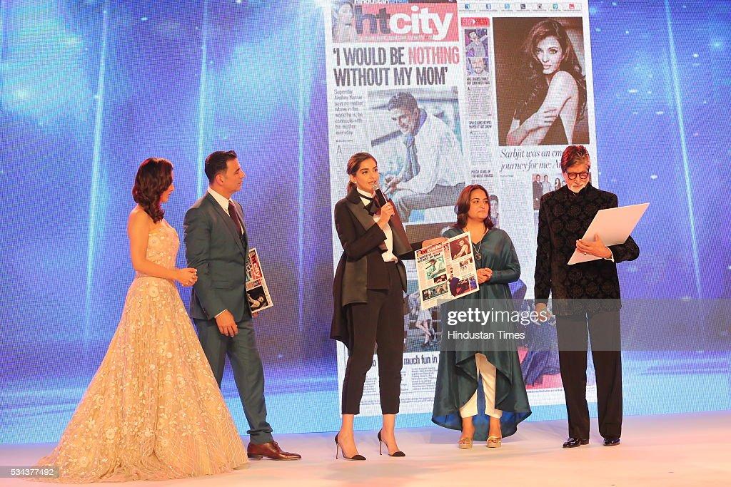 Bollywood actors Amitabh Bachchan, Akshay Kumar and Shraddha Kapoor during a sixth edition of Hindustan Times Most Stylish Awards 2016 at Hotel JW Marriot, Aerocity on May 24, 2016 in New Delhi, India.