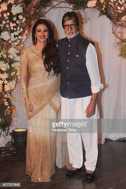 Bollywood actors Amitabh Bachchan and Tabu at wedding reception of couple Bipasha Basu and Karan Singh on April 30 2016 in Mumbai India Bipasha Basu...