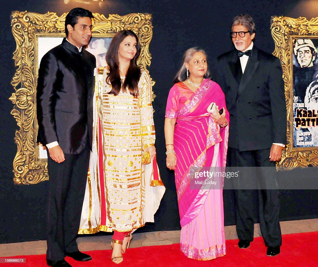 Bollywood actors Amitabh Bachchan, Jaya Bachchan, Abhishek Bachchan, Aishwarya Rai at the grand premiere of Yash Chopra film Jab Tak ai Jaan at YRF Studios in Mumbai on Monday.