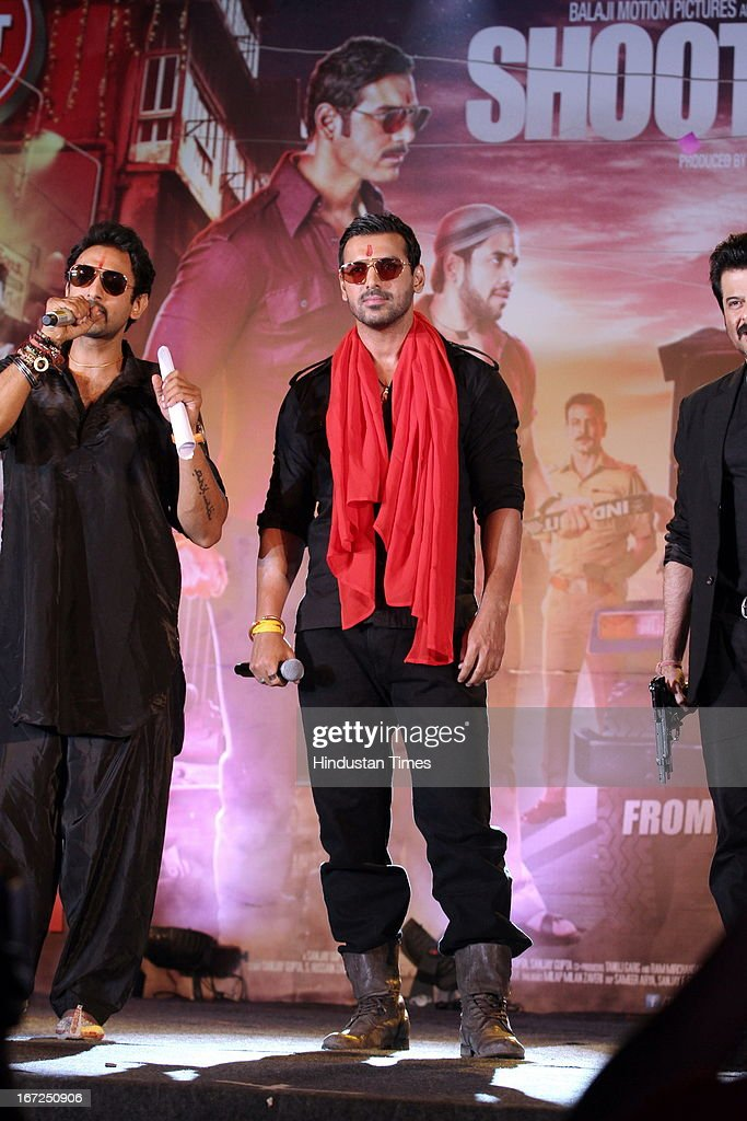 Bollywood actors Anil Kapoor with John Abraham during the promotion of their upcoming film 'Shootout At Wadala' at The Great India Place, shopping mall on April 21, 2013 in Noida, India. It is the sequel to 2007 film Shootout at Lokhandwala, and is based on the book Dongri to Dubai written by Hussain Zaidi. The film features John Abraham, Anil Kapoor, Kangna Ranaut, Tusshar Kapoor and Sonu Sood in lead roles. The film was expected to release on May 1, 2013, but has been postponed to release on May 3, 2013.