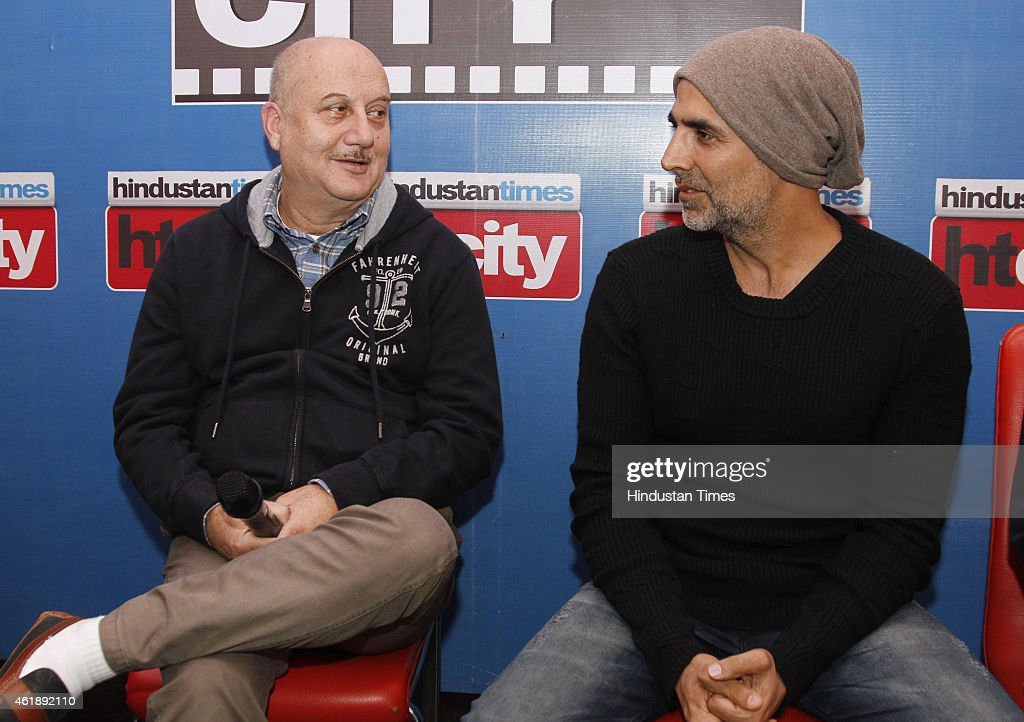 Bollywood actors Anupam Kher and Akshay Kumar during an exclusive interview with HT City Hindustan Times to promote their upcoming movie Baby at HT...
