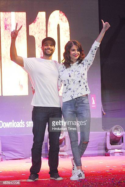 Bollywood actors Anushka Sharma Neil Bhoopalam visited Mithibai College Juhu to promote their upcoming thriller 'NH10' on February 17 2015 in New...