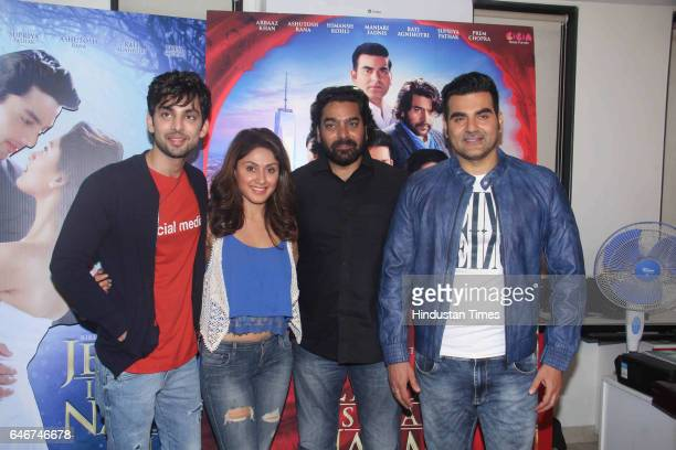 Bollywood actors Arbaaz Khan Ashutosh Rana Himansh Kohli and Manjari Fadnis during the group interview of film Jeena Isi Ka Naam Hai at Andheri on...