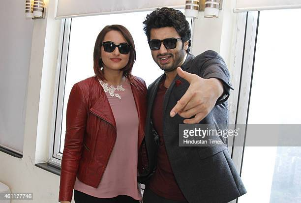 Bollywood actors Arjun Kapoor and Sonakshi Sinha during an exclusive interview for their upcoming movie Tevar at HT Media Office on January 05 New...