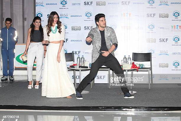 Bollywood actors Athiya Shetty and Sooraj Pancholi during a promotional event for upcoming movie 'Hero' on September 5 2015 in Gurgaon India The...