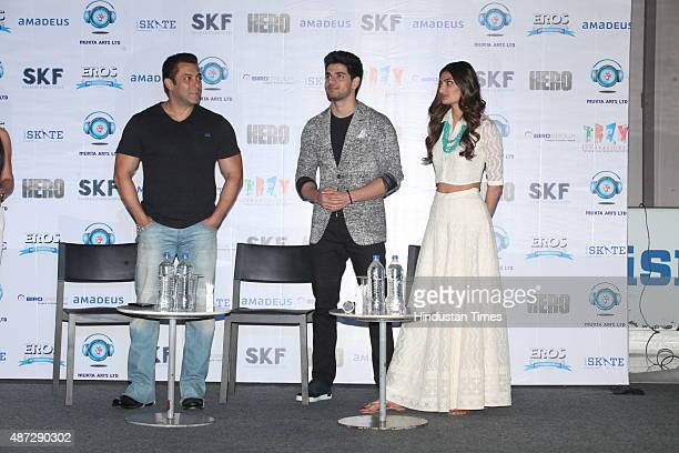 Bollywood actors Athiya Shetty Salman Khan and Sooraj Pancholi during a promotional event for upcoming movie 'Hero' on September 5 2015 in Gurgaon...
