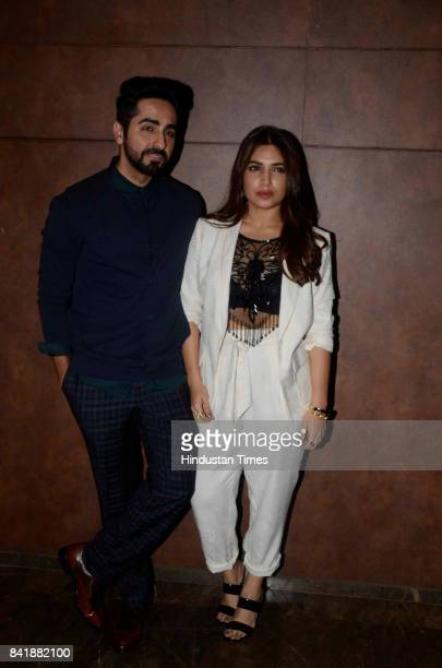 Bollywood actors Ayushmann Khurrana and Bhumi Pednekar during the film screening of movie Shubh Mangal Saavdhan at Cinepolis Andheri on August 31...