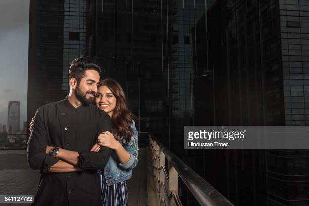 Bollywood actors Ayushmann Khurrana and Bhumi Pednekar pose during an exclusive interview with HT CafeHindustan Times for the promotion of upcoming...