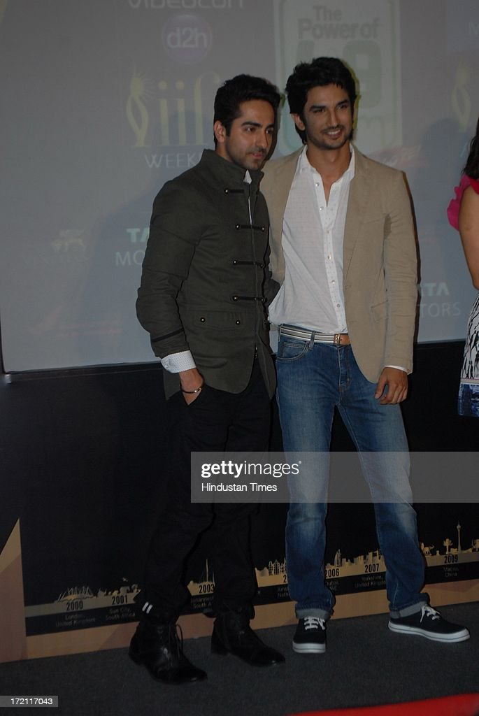 Bollywood actors Ayushmann Khurrana and Sushant Singh Rajput (R) during the IIFA 2013 Press Conference at PVR Andheri on July 1, 2013 in Mumbai, India. At a press conference on Monday, July 1, the International Indian Film Academy (IIFA) announced the performances that will be held at their annual weekend awards ceremony in Macau. Boman and Vir will host the IIFA Rocks event, while Shah Rukh Khan and Shahid Kapoor will compere the IIFA awards ceremony.