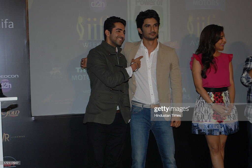 Bollywood actors Ayushmann Khurrana, Sushant Singh Rajput and Sophie Chaudhary during the IIFA 2013 Press Conference at PVR Andheri on July 1, 2013 in Mumbai, India. At a press conference on Monday, July 1, the International Indian Film Academy (IIFA) announced the performances that will be held at their annual weekend awards ceremony in Macau. Boman and Vir will host the IIFA Rocks event, while Shah Rukh Khan and Shahid Kapoor will compere the IIFA awards ceremony.