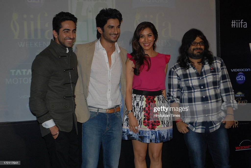 Bollywood actors Ayushmann Khurrana, Sushant Singh Rajput, Sophie Chaudhary and music director Pritam Chakraborty during the IIFA 2013 Press Conference at PVR Andheri on July 1, 2013 in Mumbai, India. At a press conference on Monday, July 1, the International Indian Film Academy (IIFA) announced the performances that will be held at their annual weekend awards ceremony in Macau. Boman and Vir will host the IIFA Rocks event, while Shah Rukh Khan and Shahid Kapoor will compere the IIFA awards ceremony.