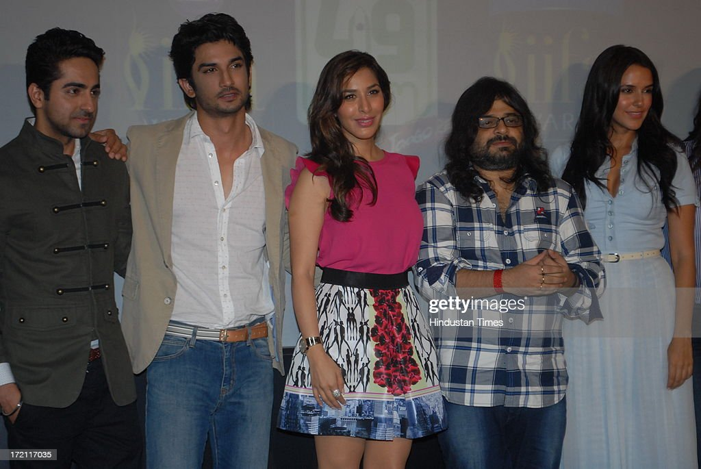 Bollywood actors Ayushmann Khurrana, Sushant Singh Rajput, Sophie Chaudhary, music director Pritam Chakraborty with actor Neha Dhupia during the IIFA 2013 Press Conference at PVR Andheri on July 1, 2013 in Mumbai, India. At a press conference on Monday, July 1, the International Indian Film Academy (IIFA) announced the performances that will be held at their annual weekend awards ceremony in Macau. Boman and Vir will host the IIFA Rocks event, while Shah Rukh Khan and Shahid Kapoor will compere the IIFA awards ceremony.