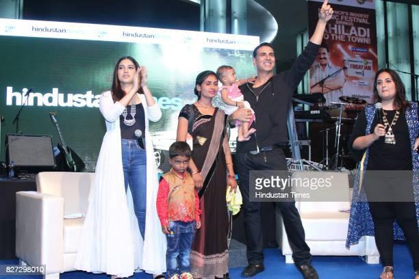 Bollywood actors Bhumi Pednekar and Akshay Kumar with Priyanka Bharti during the 4th season finale of Hindustan Times Friday Jam to promote upcoming...
