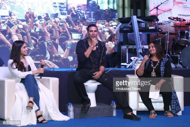 Bollywood actors Bhumi Pednekar and Akshay Kumar with Sonal Kalra Managing Editor Entertainment Hindustan Times during the 4th season finale of...