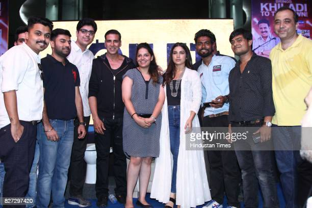 Bollywood actors Bhumi Pednekar and Akshay Kumar with their fans during the 4th season finale of Hindustan Times Friday Jam to promote upcoming film...