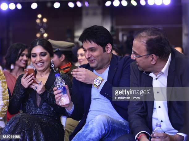 Bollywood actors Bhumi Pednekar and Kapil Sharma during an award function night organised by Bag Films Network at Taj Palace Hotel on November 27...
