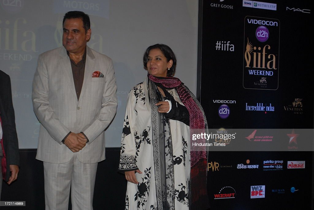 Bollywood actors Boman Irani and Shabana Azmi during the IIFA 2013 Press Conference at PVR Andheri on July 1, 2013 in Mumbai, India. At a press conference on Monday, July 1, the International Indian Film Academy (IIFA) announced the performances that will be held at their annual weekend awards ceremony in Macau. Boman and Vir will host the IIFA Rocks event, while Shah Rukh Khan and Shahid Kapoor will compere the IIFA awards ceremony.