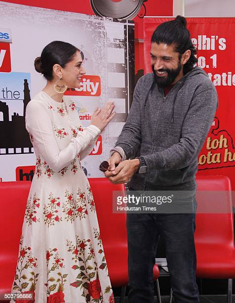 Bollywood actors Farhan Akhtar and Aditi Rao Hydari during an exclusive interview with HT CityHindustan Times for the promotion of their upcoming...