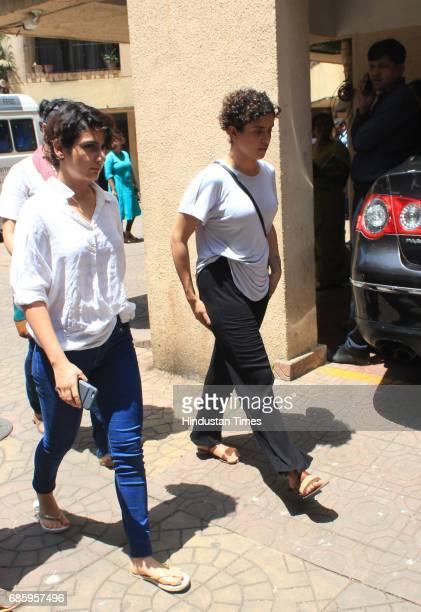 Bollywood actors Fatima Sana Sheikh and Sanya Malhotra arrive to attend the funeral of Bollywood actor Reema Laagu at Oshiwara crematorium on May 18...