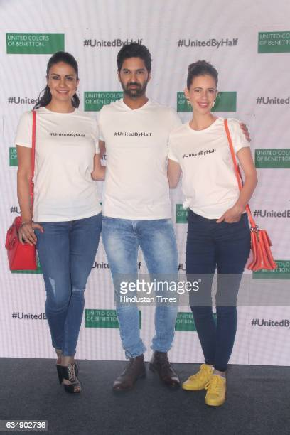 Bollywood actors Gul Panag Purab Kohli and Kalki Koechlin during the launch of #UnitedByHalf campaign by United Colors of Benetton at St Regis Lower...