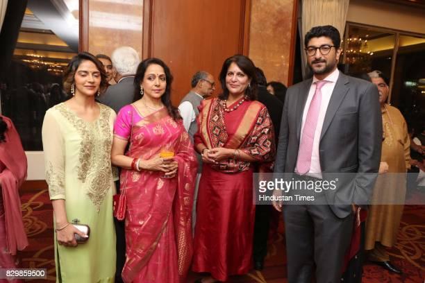Bollywood actors Hema Malini Jaya Prada with Vaibhav Vora and Ahana Deol during a dinner party hosted by Politician T Subbarami Reddy to honour...