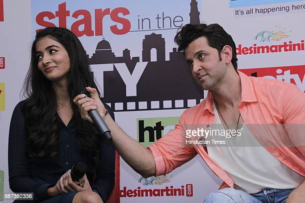 Bollywood actors Hrithik Roshan and Pooja Hegde during the promotion of their upcoming movie Mohenjo Daro at HT City Office HT House on August 5 2016...