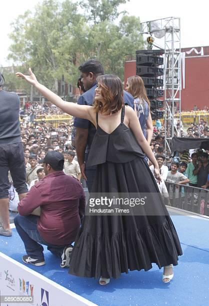 Bollywood actors Ileana D'Cruz and Esha Gupta interacting with fans while promoting upcoming movie Rustom at Hansraj College Delhi University on...