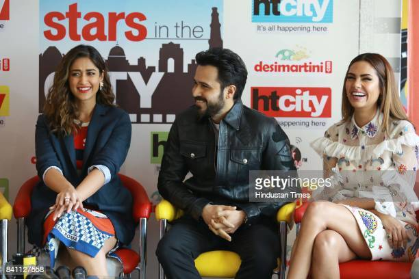 Bollywood actors Ileana D'Cruz Emraan Hashmi and Esha Gupta during an exclusive interview with HT CityHindustan Times for the promotion of upcoming...
