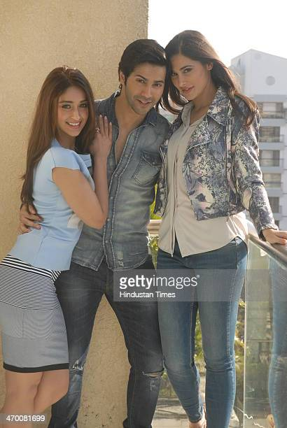 Bollywood actors Ileana D'cruz Varun Dhawan and Nargis Fakhri at Krishna Bangla Juhu on February 8 2014 in Mumbai India