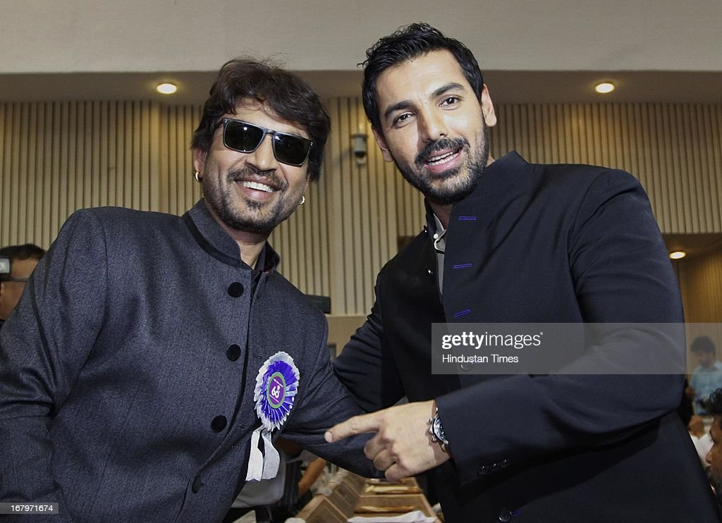 Bollywood actors John Abraham and Irfan Khan at 60th National Film Awards on May 03, 2013 in New Delhi , India. Paan Singh Tomar' got best film award and its lead actor Irrfan Khan adjudged as the best actor.