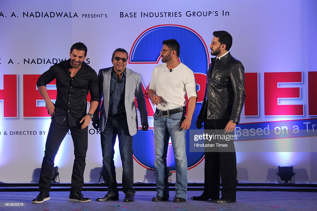 Bollywood actors (L-R) <a gi-track='captionPersonalityLinkClicked' href=/galleries/search?phrase=John+Abraham+-+Sk%C3%A5despelare&family=editorial&specificpeople=11715593 ng-click='$event.stopPropagation()'>John Abraham</a>, Paresh Rawal, Suniel Shetty and <a gi-track='captionPersonalityLinkClicked' href=/galleries/search?phrase=Abhishek+Bachchan&family=editorial&specificpeople=549431 ng-click='$event.stopPropagation()'>Abhishek Bachchan</a> during unveiling of the starcast of film Hera Pheri 3 on January 12, 2015 in Mumbai, India.