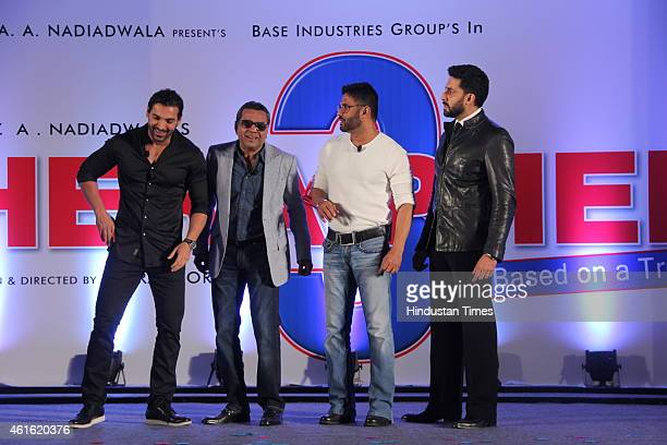 Bollywood actors John Abraham Paresh Rawal Suniel Shetty and Abhishek Bachchan during unveiling of the starcast of film Hera Pheri 3 on January 12...