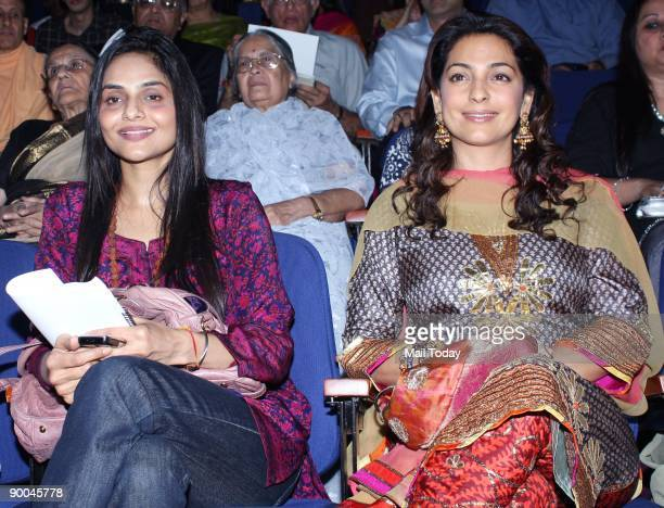 Bollywood actors Juhi Chawla and Madhu at the launch of the the book 'The Journey home Autobiography of an American Swami' in Mumbai on Friday August...