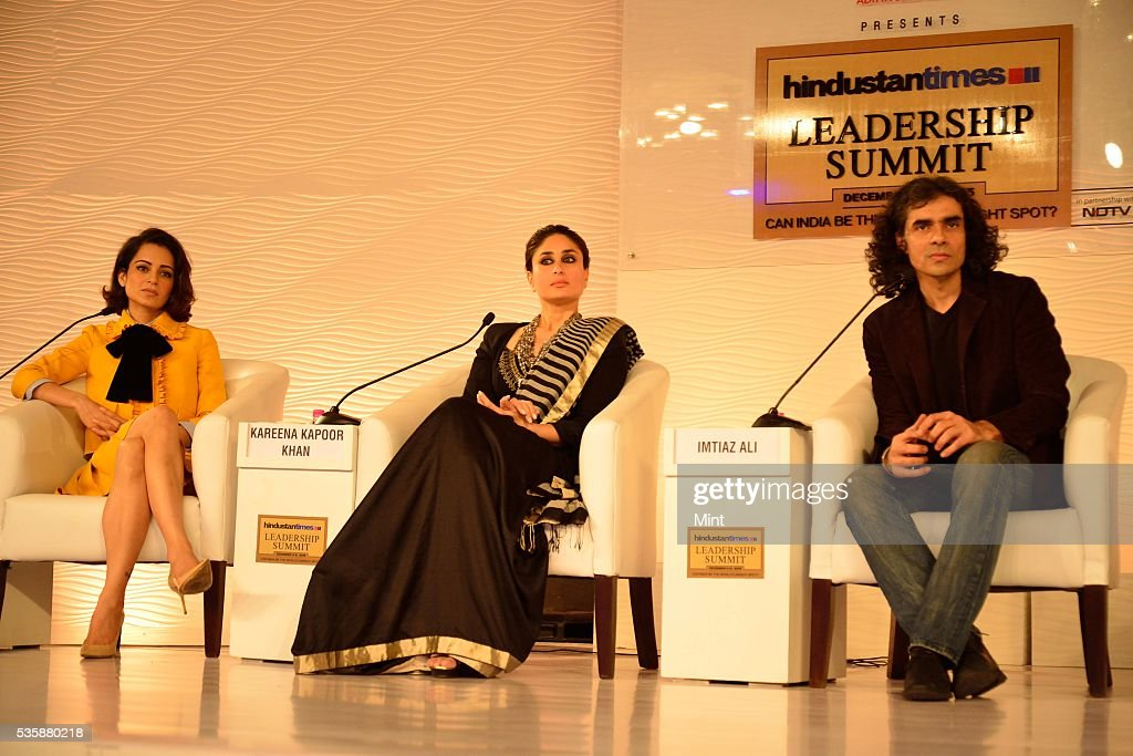 Bollywood actors Kareena Kapoor Khan and Kangana Ranaut, in discussion with film director and writer Imtiaz Ali, during Hindustan Times Leadership Summit 2015 on December 5, 2015 in New Delhi, India.