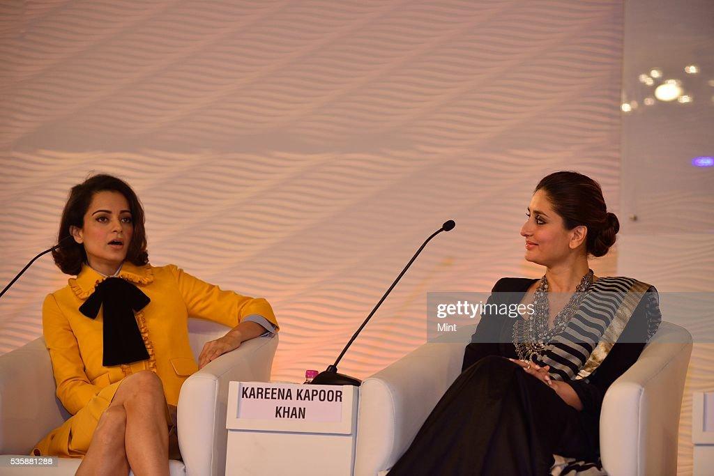 Bollywood actors Kareena Kapoor Khan and Kangana Ranaut, speaking at Hindustan Times Leadership Summit 2015 on December 5, 2015 in New Delhi, India.