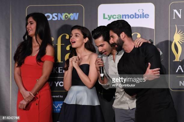 Bollywood actors Katrina Kaif Alia Bhatt Varun Dhawan and Shahid Kapoor react during a press conference ahead of the 18th International Indian Film...