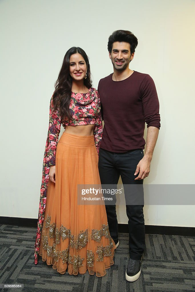 Bollywood actors Katrina Kaif and Aditya Roy Kapoor during an interview for the promotion of their upcoming adult comedy film Fitoor at HT Media Office on February 3, 2016 in New Delhi, India. The film is scheduled to release on February 12, 2016.