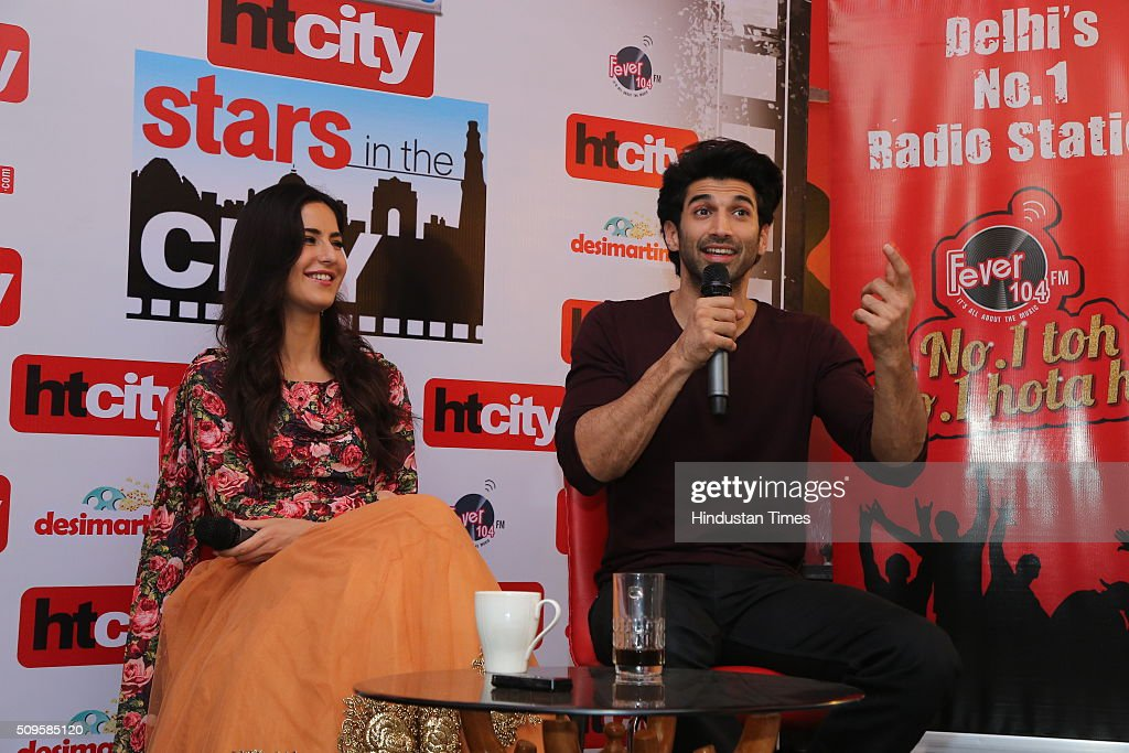 Bollywood actors Katrina Kaif and Aditya Roy Kapoor interact during an interview for the promotion of their upcoming adult comedy film Fitoor at HT Media Office on February 3, 2016 in New Delhi, India. The film is scheduled to release on February 12, 2016.