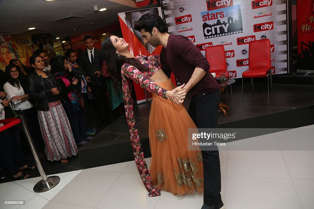 Bollywood actors Katrina Kaif and Aditya Roy Kapoor performs a dance act during an interview for the promotion of their upcoming adult comedy film Fitoor at HT Media Office on February 3, 2016 in New Delhi, India. The film is scheduled to release on February 12, 2016.