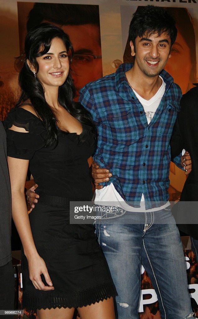 Bollywood actors Katrina Kaif and Ranbir Kapoor take part in a press conference for the movie 'Rajneeti' on May 8 2010 in Mumbai India 'Rajniti' is...