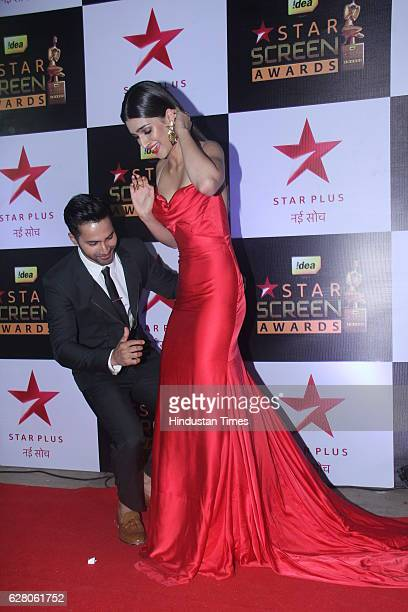 Bollywood actors Kriti Sanon and Varun Dhawan during the 23rd Annual Star Screen Awards 2016 on December 4 2016 in Mumbai India