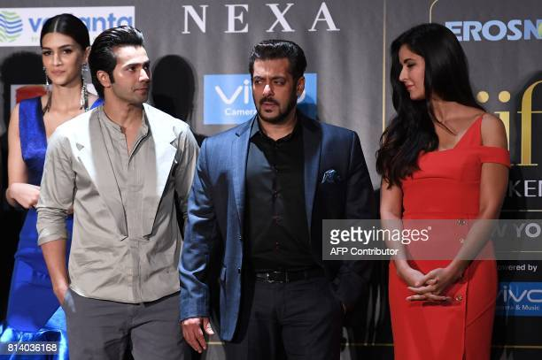 Bollywood actors Kriti Sanon Varun Dhawan Salman Khan and Katrina Kaif pose during a press conference ahead of the 18th International Indian Film...